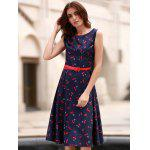 Vintage Jewel collo maniche Cherry Dress Stampa Flare per le donne - BLU VIOLACEO