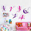 Quality Flower Fairy Shape Removeable Wall Stickers - COLORMIX