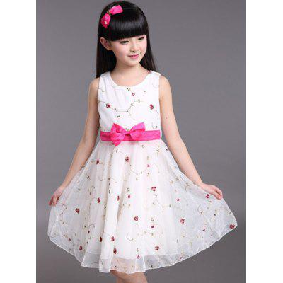 Cute Sleeveless Bowknot Design Embroidered Mini Dress For Girl