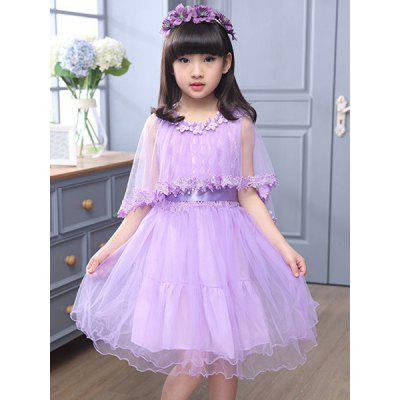Cute Sleeveless Lace Spliced Pure Color Flower Design Dress For Girl