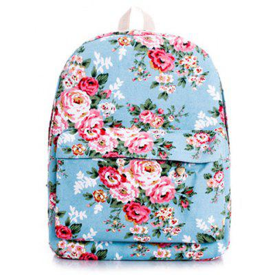 Sweet Floral Print and Canvas Design Satchel For Women