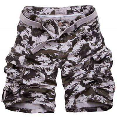 Zipper Fly Camouflage Pockets Design Straight Leg Shorts For Men
