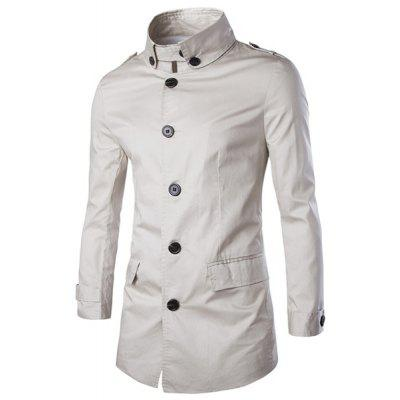 Turn-Down Collar Single Breasted Epaulet Design Long Sleeve Coat For Men