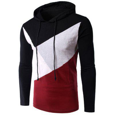 Slimming Color Block Long Sleeves Hoodie T-Shirt For Men