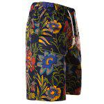 cheap Vogue Straight Leg Floral Print Fitted Lace-Up Cotton+Linen Shorts For Men