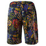 Vogue Straight Leg Floral Print Fitted Lace-Up Cotton+Linen Shorts For Men for sale