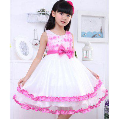Sleeveless Bowknot Design Flower Spliced Girl's Princess Dress