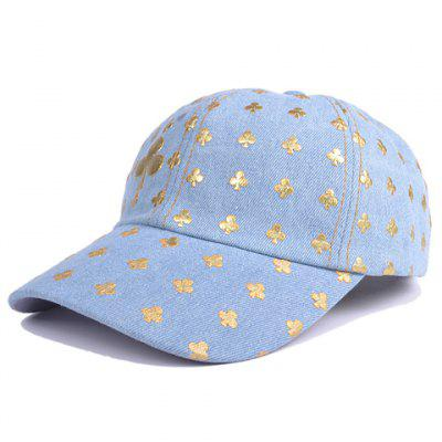 Stylish Poker Cards Clubs Print Denim Baseball Hat