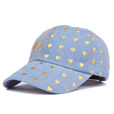 Stylish Poker Cards Hearts Print Denim Baseball Hat