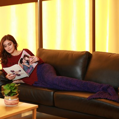 Buy Artist Playfully Redesigns Cozy Mermaid Tails Knitted Blankets and Throws PURPLE for $24.71 in GearBest store