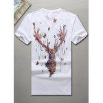 V-Neck 3D Butterfly and Elk Printed Short Sleeve T-Shirt For Men - WHITE