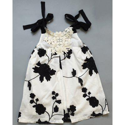Stylish Spaghetti Strap Embroidered Hollow Out Dress For Girl