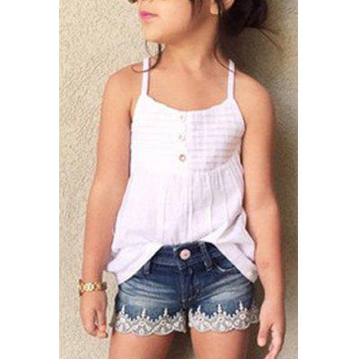 Stylish Spaghetti Strap Tank Top + Denim Shorts Girl's Twinset