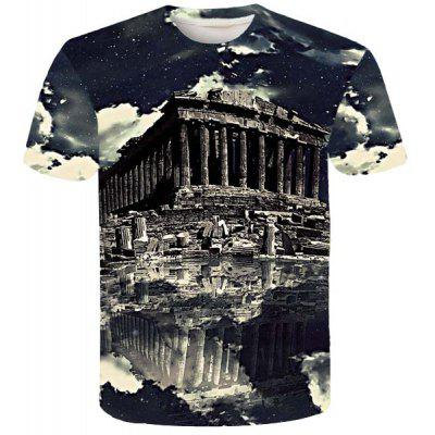 Modern Style Round Neck Historic Building Print Short Sleeves 3D T-Shirt For Men