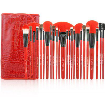 Stylish 24 Pcs Pony Hair Makeup Brushes Set with Artificial Crocodile Skin Brush Bag