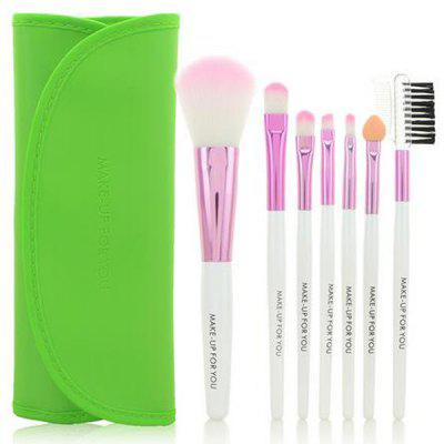 Stylish 7 Pcs Germproof Fiber Makeup Brushes Set with PU Leather Brush Bag
