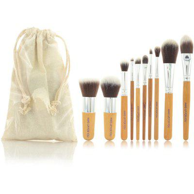 10 Pcs Bamboo Handle Germproof Fiber Makeup Brushes Set with Gunny Bag