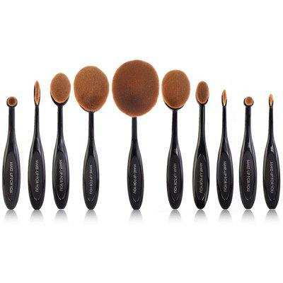 Stylish Multipurpose 10 Pcs ToothBrush Shape Fine Fiber Makeup Brushes Set with Gift Box