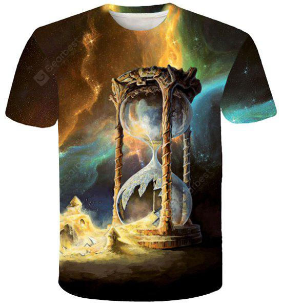 Trippy 3D Hourglass Print Round Neck Short Sleeves Slim Fit T-Shirt For Men