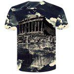 cheap Modern Style Round Neck Historic Building Print Short Sleeves 3D T-Shirt For Men
