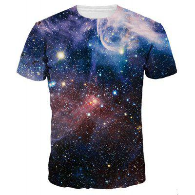 Vast Starry Sky Print Round Neck Short Sleeves 3D T-Shirt For Men