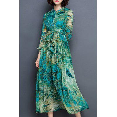 Peacock Feather Printed Long Sleeve Waist Tied Chiffon Dress