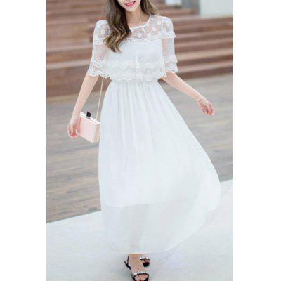 Buy Chic Shawl Collar Lace Spliced Pure Color Women's Chiffon Dress WHITE XL Apparel > Women's Clothing > Women's Dresses > Maxi Dresses for $27.82 in GearBest store