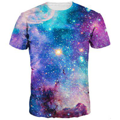 3D Colorful Starry Sky Print Round Neck Short Sleeves T-Shirt For Men