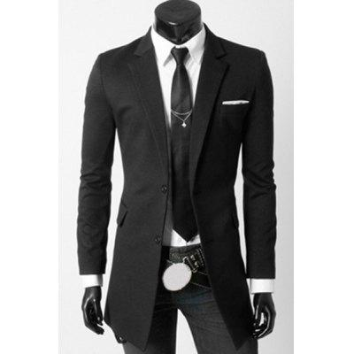 Turn-Down Collar Flap Pocket Long Sleeve Men's Long Blazer