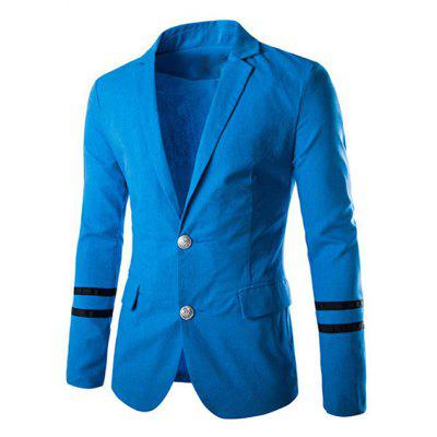 Turn-Down Collar Stripes Pattern Long Sleeve Men's Blazer
