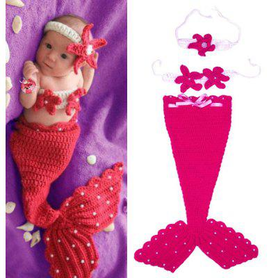 Buy RED Chic Quality Hand Knitting Mermaid Design Three-Piece Suit Baby Sleeping Bag Blanket for $8.84 in GearBest store