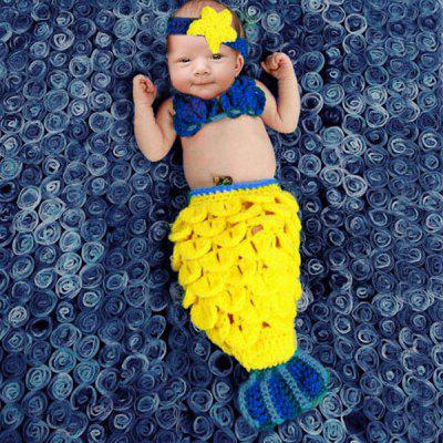 Stylish Hand Woolen Knitting Mermaid Shape Three-Piece Suit Baby Sleeping Bag Blanket