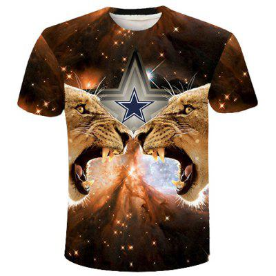 Round Neck 3D Star and Tigers Printed Short Sleeve T-Shirt For Men
