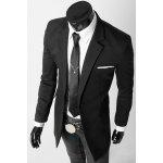 cheap Turn-Down Collar Flap Pocket Long Sleeve Men's Long Blazer