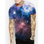 cheap Vast Starry Sky Print Round Neck Short Sleeves 3D T-Shirt For Men