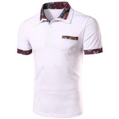 Casual Turn-down Collar Floral Spliced Short Sleeves Polo T-Shirt For Men