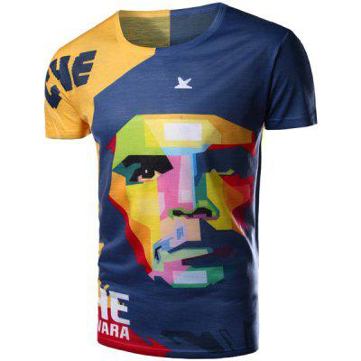 Round Neck 3D Mix-Color Abstract Face Pattern Short Sleeve Men's T-Shirt