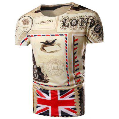 Round Neck Union Jack Pattern Print Short Sleeve Men's T-Shirt