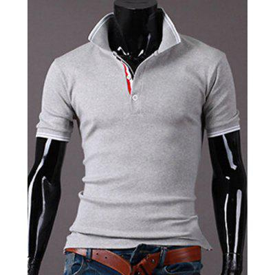Multi-Button Side Slit Turn-down Collar Short Sleeves Polo T-Shirt For Men