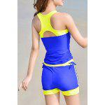 Active Sleeveless Hit Color Sheath Tank Top and Shorts Twinset Swimwear For Women - SAPPHIRE BLUE