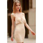 Spaghetti Strap Backless Club Bodycon Skimpy Dress - KHAKI