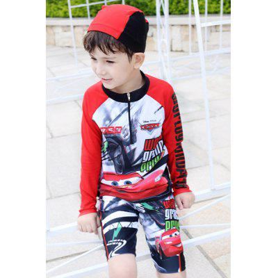 Stylish Mcqueen Pattern Long Sleeve Boy's Swimsuit