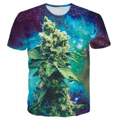 Round Neck 3D Starry Sky Grass Print Short Sleeves T-Shirt For Men