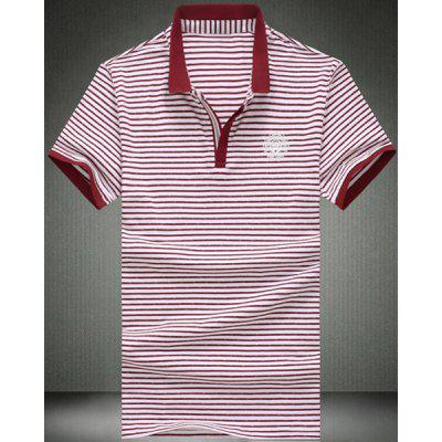 Turn-Down Collar Color Block Stripes Print Short Sleeve Men's Polo T-Shirt