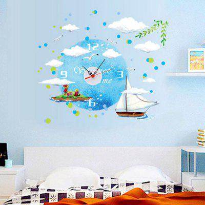 Buy COLORMIX Quality Creative DIY Sailboat Shape 3D Wall Sticker Clock for $6.95 in GearBest store