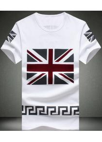 Modish Round UK Flag Pattern Short Sleeve Men's T-Shirt