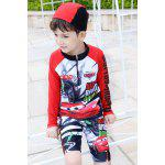 Buy Stylish Mcqueen Pattern Long Sleeve Boy's Swimsuit 140 RED
