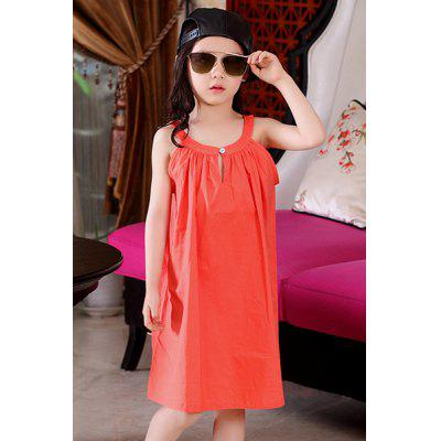 Cute Sleeveless Solid Color Loose-Fitting Summer Dress For Girl