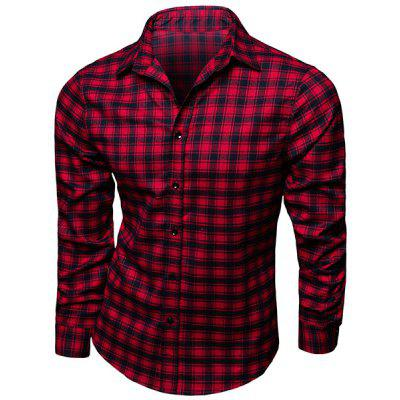 Trendy Collar Turn-Down Shirt Plaid impression manches longues hommes