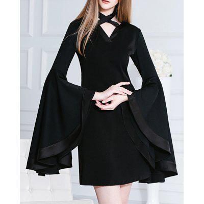 Stylish Black Neck Tied Bell Sleeve Mini Chiffon Dress For Women
